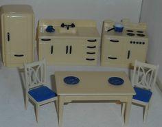 Ideal KITCHEN SET Vintage Dollhouse Furniture Plastic Marx Renwal Tin 1/16 #Ideal