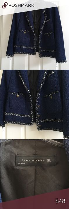 Zara Navy Blazer Boucle Jacket with Tweed Trim Zara Chanel-inspired boucle blazer with tweed trim. Worn several times, so trim is a bit frayed all around and the back of the jacket has a slight snag (see last photo). Overall still in great condition and is size L. Zara Jackets & Coats