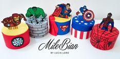 Superhero Mini Cakes by MileBian Perfect for boys super hero birthday party food. Superhero Treats, Superhero Cookies, Superhero Birthday Cake, Avengers Birthday, Superhero Party, Marvel Cake, Superman Cakes, Mini Tortillas, Ironman Cake