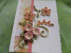 peach and green quilled card Quilling Ideas, Quilling Cards, Paper Quilling, Peach And Green, Teal Green, Greeting Cards, Cottage, Craft Ideas, Crafts