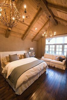 This will be my attic one day! I am so in love with everything about this! Add's an extra room, uses dead space, the wood flooring. LOVE it all!
