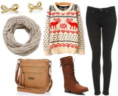 How to style a holiday sweater for day with black skinny jeans brown combat boots brown messenger bag gray circle scarf and bow studs