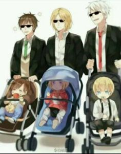 The Bad Touch Trio: Daddy; Stroller Edition <3 #anime #manga #Hetalia #Anthony #Spain #Gilbert #Prussia #Francois #France #dads #Romano #South_Italy #Matthew #Canada #Ludwig #Germany #sons