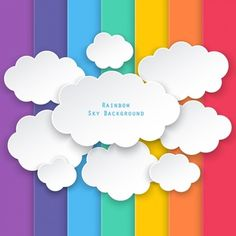 Nuvens em um fundo de barras coloridas