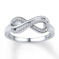 Diamond Infinity Ring 1/10 ct tw Round-cut 10K White Gold  This will be my wedding band m the near future!!! I love how classy and elegant it is, yet simple!!!
