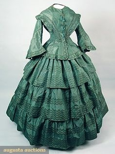 AMERICAN GREEN SILK DAY DRESS, 1855-1860