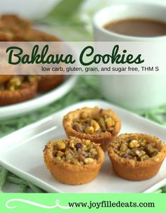 Keto Baklava Cookies – Low Carb & Gluten Free - With walnuts, pistachios, cinnamon, and a sugar free glaze these Baklava Cookies will be the perfect substitute to the traditional sugar laden pastry. Cookies Sans Gluten, Dessert Sans Gluten, Keto Cookies, Cookies Et Biscuits, Low Carb Sweets, Low Carb Desserts, Low Carb Recipes, Diabetic Desserts, Healthy Recipes