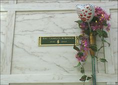Ray Charles Robinson   Singer, Entertainer   Birth: September 23, 1930   Death: June 10, 2004   Cause of Death: Acute Liver Disease   Burial: Inglewood Park Cemetery, Los Angeles, California   Plot: Mausoleum of The Golden West, Eternal Love Corridor, Crypt: A-32