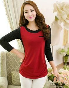 Red  Color Block Stretch Top with Welt Chest Pocket