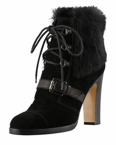 Grandly Suede-Rabbit Fur Lace-Up Boot, Black by Aquatalia by Marvin K
