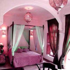 Morrocan bedroom; mint green and purple hues