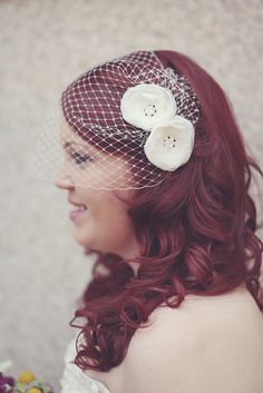 Bird Cage veil with curls
