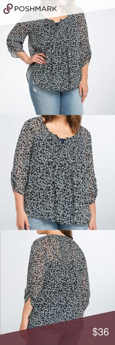 """❗️CLEARANCE ❗️Torrid Floral Pintuck Top This top is your new favorite in the making (take our word for it). The black chiffon is totally sheer (aka layer-ready). The floral print is girly without being fussy, while pintuck pleating and cinched sleeves lend volume to the lightweight style. Made of polyester. Torrid Size 1. Front length 25""""/ back 32"""". torrid Tops"""