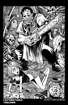 """Black and White version of my tribute to """"The Texas Chainsaw Massacre"""". Pen and Ink on Bristol Board. Scary Coloring Pages, Coloring Books, Colouring, Tattoo Coloring Book, Non Plus Ultra, Horror Artwork, Bristol Board, Creepy Clown, Horror Icons"""