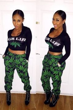 Two Piece Crop Top and Joggers Jumpsuit Set, Weed Printed on the Joggers and High life Print On the Top