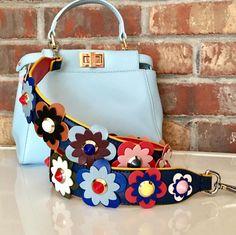 Multicolor Flower Embellished Guitar Bag Strap, Flower Purse Strap – Purity Purse Straps