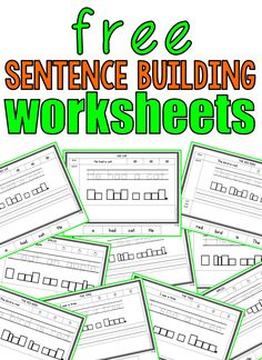 10 Free Sentence Building WorksheetsYou can find Sentence writing and more on our Free Sentence Building Worksheets Kindergarten Lessons, Kindergarten Writing, Kids Writing, Writing Activities, Literacy, Writing Papers, Kindergarten Worksheets, Teaching Resources, Teaching Ideas