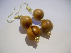 Wooden Bead Earrings Wood Earrings Brown by TwiggyPeasticks