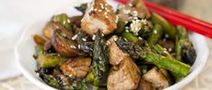 Get dinner ready in a flash with this light, protein-packed stir-fry recipe, which combines seasonal asparagus with mushrooms and tofu.