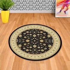 Master Craft Noble Art 6529 090 Black Traditional Circle Rug By Mastercraft Circle Rug, Traditional Rugs, Rugs Online, Area Rugs, Beige, Antiques, Craft, Black, Easy