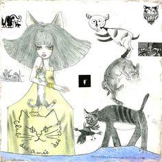 「ピカソとフジタとミロとわたしの猫。そしてコクトーの猫」キャンバス 8S