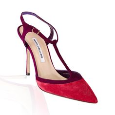 Manolo Blahnik Wotton T Strap Suede Pump- Raspberry/Purple
