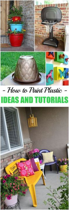 How to Paint Plastic. Fun ideas and tutorials for painting old furniture, plastic toys and more! How to Paint Plastic. Fun ideas and tutorials for painting old furniture, plastic toys and more! Upcycled Crafts, Diy Crafts, Decor Crafts, Painting Old Furniture, Painted Furniture, Garden Furniture, Diy Furniture, Furniture Stores, Repurposed Furniture