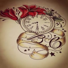 Pocketclock and flowers drawing