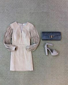 WEBSTA @ effiesinc - #Lookoftheday!!! Amazing lightweight tan suede dress with cord sleeves, gray straw bag with bamboo clasp , and neutral suede block heeled sandal. #pre-fall #sneakpeek #indiansummer #shopttownallthetime #ootd