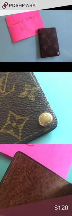 """Authentic Louis Vuitton Picture Holder monogram EUC. The plastic pieces to hold pictures are not included. I had used them for a different wallet. Normal usage in the """"bend"""" of the picture holder. The last picture shows some specs. Louis Vuitton Accessories Key & Card Holders"""