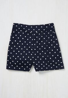Dapper on Deck Shorts in Navy Dots by ModCloth - Blue, White, Polka Dots, Print, High Rise, Colorsplash, Exclusives, Cotton, Woven, Spring, Variation, SF Fit Shop