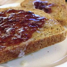 Toast with homemade strawberry preserves.