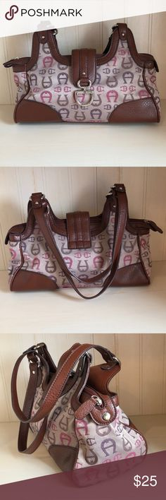 """15aca515f70 Etienne Aigner Shoulder Bag Shoulder bag with brown trim and canvas with  the signature """"A"""