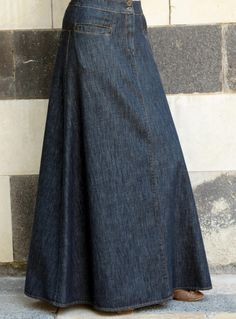 Shukr Islamic Clothing - Denim Flattering Fit A-Line Skirt Modest Skirts, Long Maxi Skirts, Modest Outfits, Long Jean Skirts, Summer Skirts, Mini Skirts, Denim Skirt Outfit Winter, Denim Skirt Outfits, Skirt And Sneakers