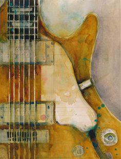 Les Paul Guitar - Semi-Hollowbody Goldtop- Watercolor Art Print -
