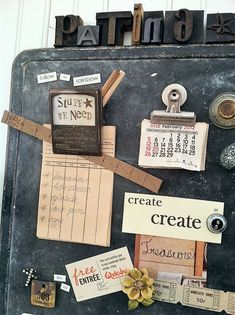 great old metal tray as new magnet board with great embellishments @patina white