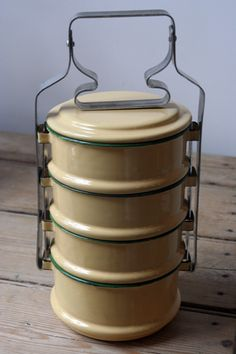 enamelware tiffin box simiular to the one on on side of the OLD  1st BBQ fixed for my potting table.
