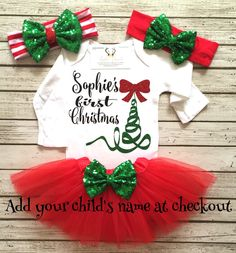A personal favorite from my Etsy shop https://www.etsy.com/listing/488394507/christmas-bodysuit-baby-girl-christmas