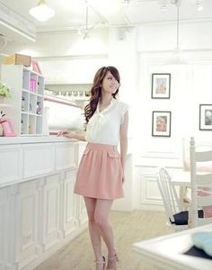 White Stylish Short Butterfly Sleeves Combined Korean Fashion Summer Dress