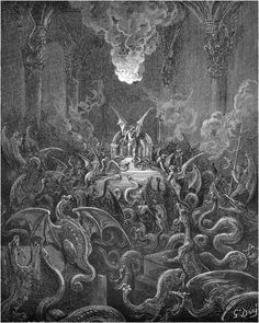 theladyinthegraveyard:  Gustave Doré illustration from Milton's Paradise Lost                                        Dreadful was the din                   Of hissing through the Hall, thick swarming now                       With complicated monsters head and taile,                      Scorpion and Asp, and Amphisbæna dire—