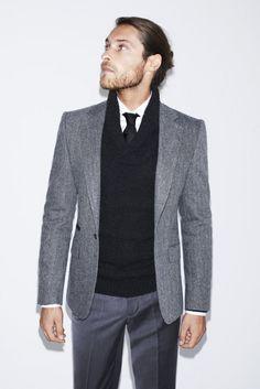Herringbone Blazer + Tuxedo Collar Sweater