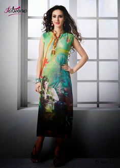 Beautifully Designed Digitally printed Shaded Green Georgette Kurti. Modernized and trendy looking Party wear stuff.