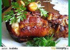 Pečené vepřové koleno recept - TopRecepty.cz Snack Recipes, Cooking Recipes, Snacks, Czech Recipes, Ethnic Recipes, Thing 1, Pork Roast, Salmon Burgers, Baked Potato