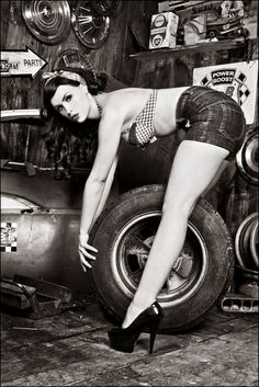 "Pin-Up Girl.....""Are you sure this is how the tire goes?"" This pin up beauty - Calamity Amelie - can help."