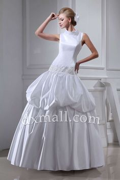 Ball Gown Wedding Dresses High Neck Ankle Length Satin Ivory 01001020031