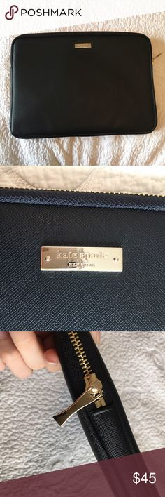 """Kate Spade Black Leather 13"""" Laptop Sleeve In great condition, I just removed the tags an tried to use it once until I realized that it is ever so slightly too small for the 13"""" MacBook Air (which is misleadingly a 13.3"""" display uhg) so I'm selling. There is one lighter stop on the leather that was there when I bought it and I didn't notice it at first because it's not super noticeable. Durable saffiano leather, a zippered closure, padding on the inside, gold hard wear. According to the…"""