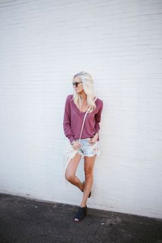 Embroidered Shorts + Spring Sweater
