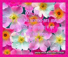 Bom Dia. Ame a vida, pois nascemos para amar... E se alguém lhe perguntar o que fez da vida, diga apenas... AMEI !!!