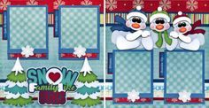 SNOW-FAMILY-LIKE-OURS-winter-2-premade-scrapbook-pages-paper-piecing-BY-CHERRY