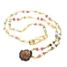 Carved Watermelon Tourmaline Flower Necklace Pearl by FizzCandy,